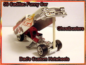Custom airbrushed Ghostbusters 59 cadillac funny car Hot wheels diecast