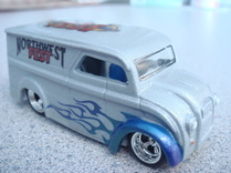 Flamed custom airbrushed dairy delivery hot wheels die cast car