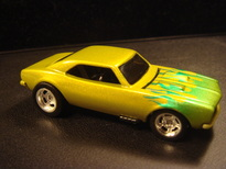 Custom airbrushed flamed 67 camaro hot wheels die cast car